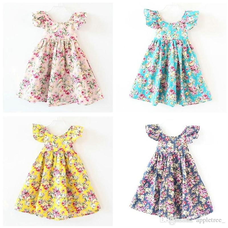 687c5cd17f87 2019 Summer Girl Clothing Kids Floral Ruffle Beach Dress Baby Backless  Halter Flower Princess Dresses Children Toddler Clothes Wholesale 2016 New  From ...