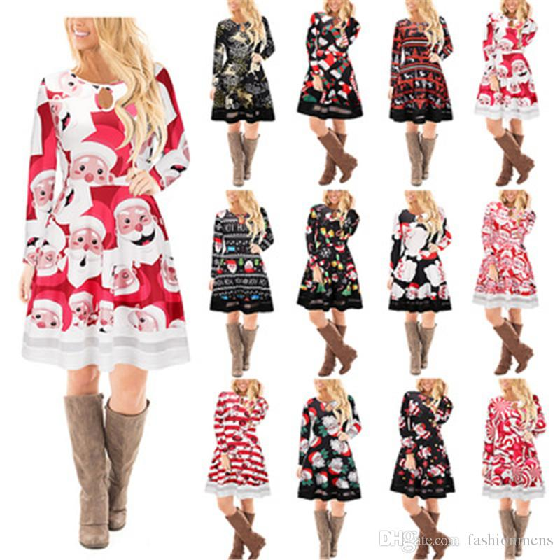 8db1d14de67 Casual Tunic Tulle Patchwork Christmas Dress Women Fashion Winter Santa  Claus Mini Robe Ladies Long Sleeve A Line Flared Skater Dresses Sundress  Online ...