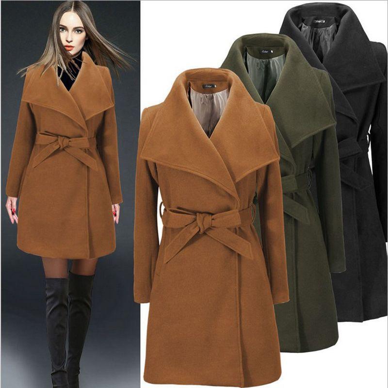 acheter mode manteau femme hiver 2018 hiver lapel neck manches longues manteau de laine femmes. Black Bedroom Furniture Sets. Home Design Ideas