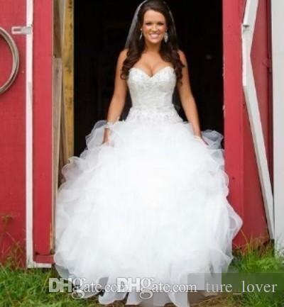 Bling A-Line Vestidos de Noiva Sweetheart vestido de esfera Organza país vestido nupcial cristal frisado vestidos nupciais reais lace up nas costas