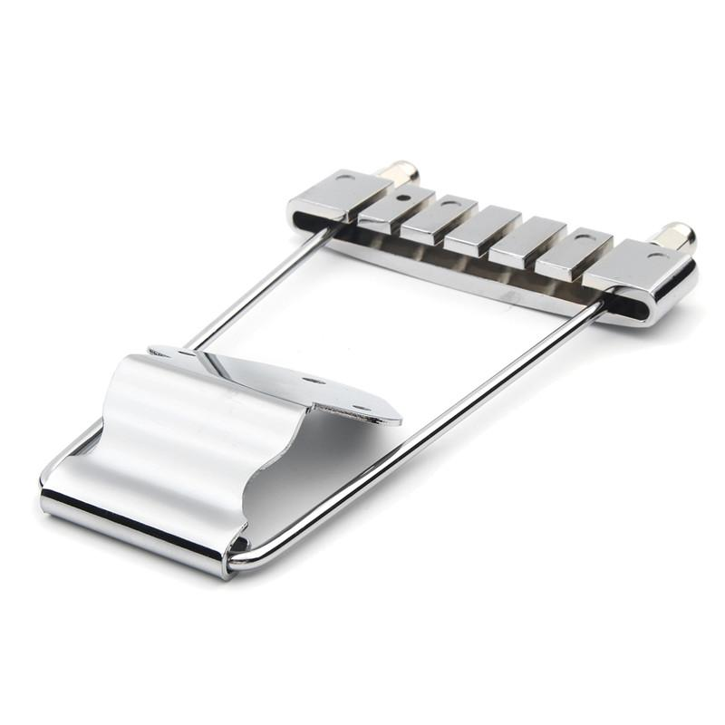 1PCS Chrome Guitar Accessories Guitar Chrome Tailpiece Trapeze Open Frame Bridge For 6 String Musical Instruments Accessories