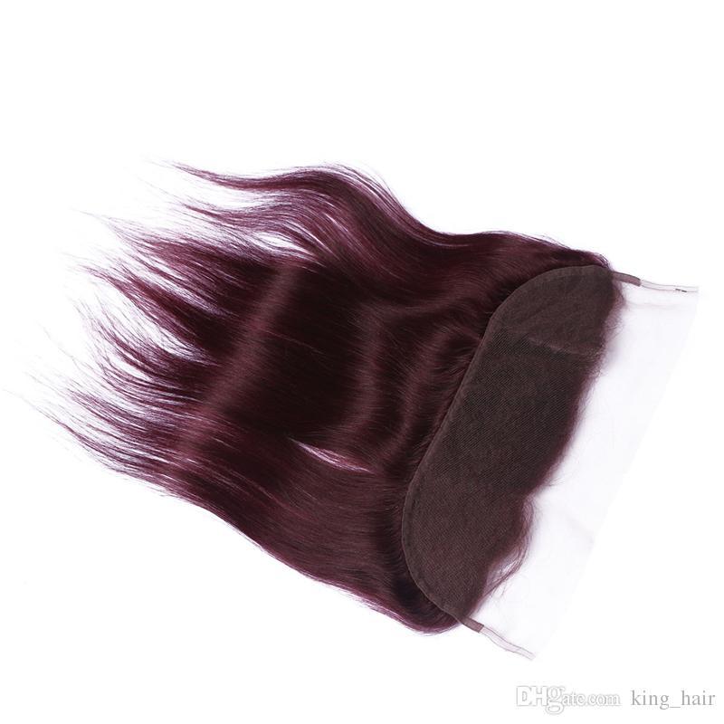 Yeni Varış Ile Saf Renk # 99J Insan Saç Demetleri Dantel Frontal Ağartıcılar Knot Bordo Tam Dantel Frontal Ile Saç Örgüleri 4 Adet / grup