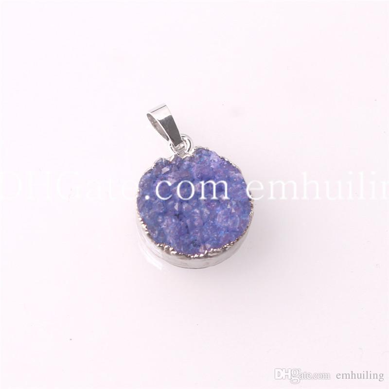 """New Arrival Cute Small Round Shape Silver Plated Druzy Beads Pendant Necklace White/Purple/Green/Blue/Orange/Pink /Black with 18"""" Link Chain"""
