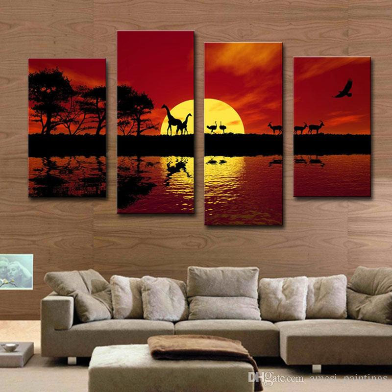 Red Canvas Wall Art discount modern giclee canvas prints landscape artwork 4 panels