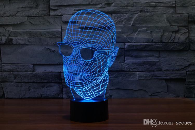 2017 homem óculos homem em preto 3D Optical Lamp Night Light 9 LEDs Luz Noturna DC 5V Colorful 3D Lamp