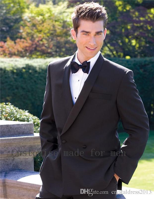 a0d422114b Wholesale- Allure Black Men s Clothing Suits Blazers Two Buttons Formal  Suits Man Tailored Groomsman Suit Wedding Suit Jacket+Pants+Tie Formal Suits  Men ...