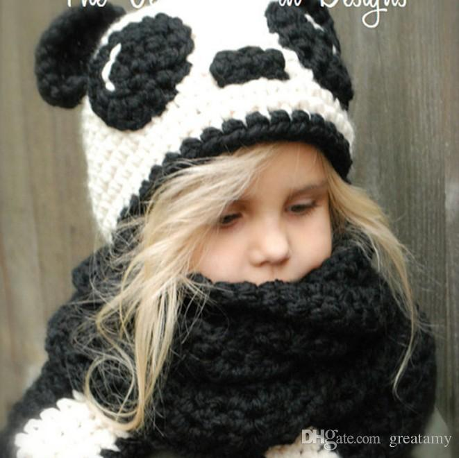 Baby Girl Boy Toddler Infant Panda Knit Hat Cap Scarf Muffler Cartoon Bebe Beanie Kids Boys Hats Caps Scarves Accessories
