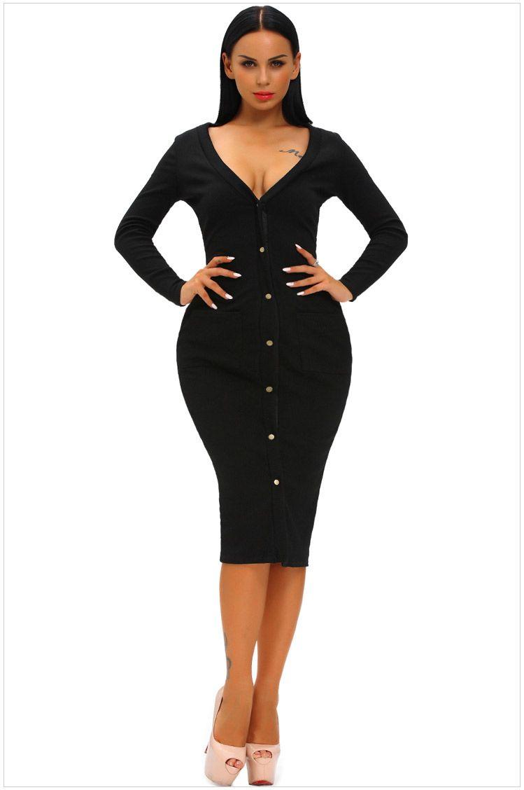c79be81cd87 Womens Ribbed Knit Sexy V-neck Long Sleeve Cardigan Slim Dress For Ladies  Autumn Black Fashion Pocket White Bodycon Dresses Drop Shipping Cardigan  Dresses ...