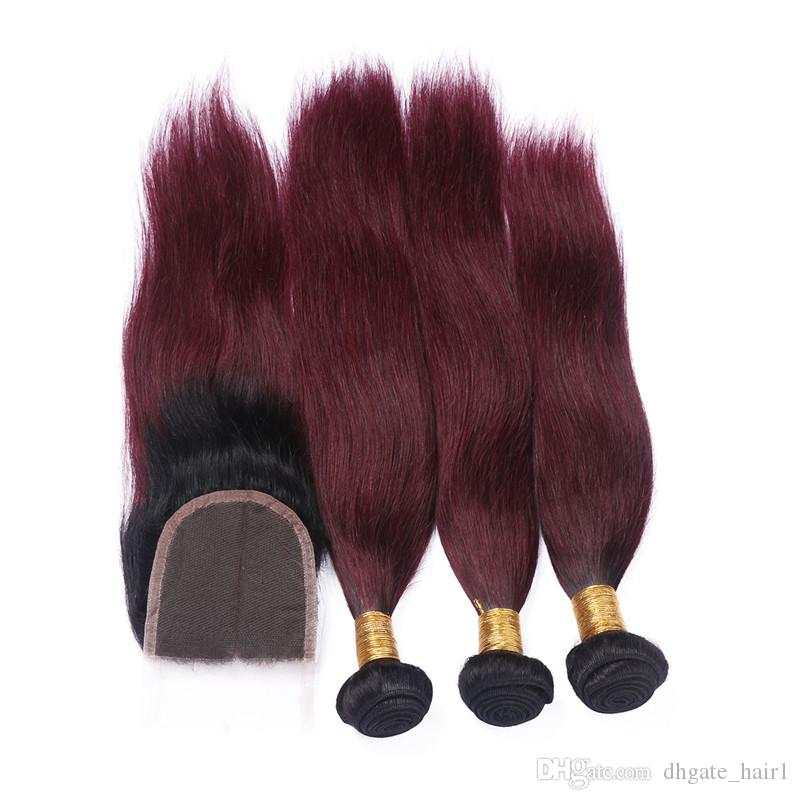Two Tone 1B/99J Wine Red Ombre Brazilian Human Hair Wefts with Lace Closure Straight Burgundy Ombre 4x4 Lace Top Closure with 3Bundles