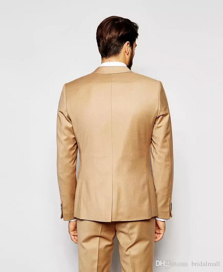 Handsome Morning Gold Wedding Dresses Abiti Slim Fit Mens Suits promenade smoking dello sposo su misura cena di lavoro Jacket + Pants + vest