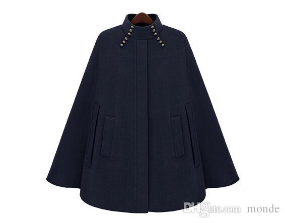 2016 yeni moda standı Yaka Kaplı düğme Yün kadın Pelerin rüzgarlık mont kadın coats kadın Dış Giyim kadın giyim donanma