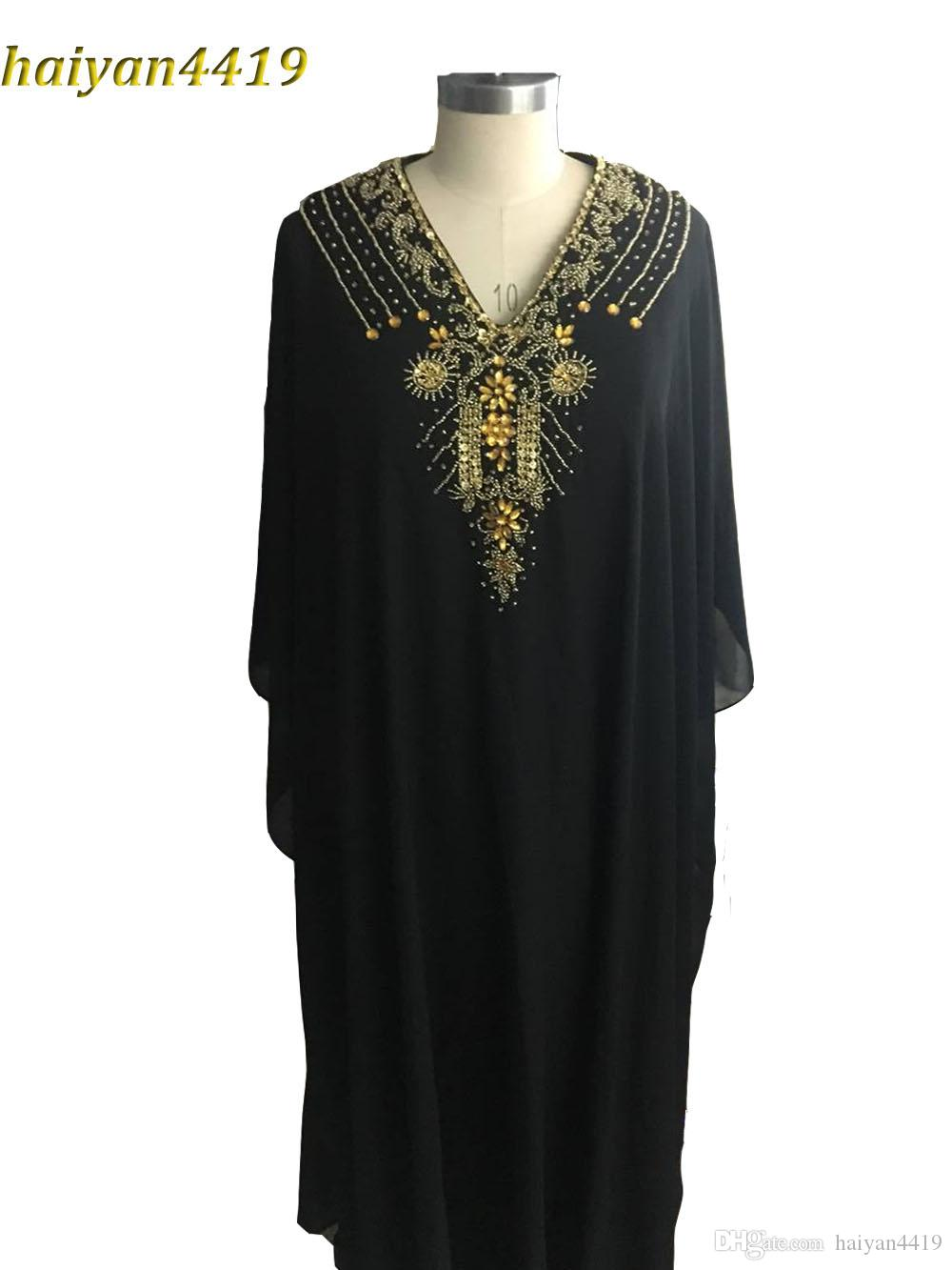 79e0b7b10 Compre 2017 Baratos Largo Árabe Islámica Ropa Para Las Mujeres Abaya En  Dubai Kaftan Árabe Musulmanes Vestidos De Noche V Cuello De Gasa Beads  Party Prom ...