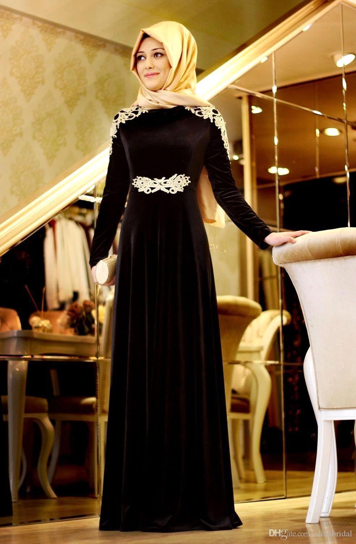 Satın Al Orta Doğu Siyah Dubai Müslüman Abiye Kadife Uzun Kollu Kaftan  Abayas Arapça Gelinlik Modelleri Kat Uzunluk Robe İslam Önlükler 4229e849a016