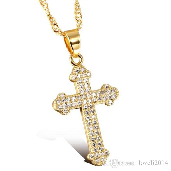 Wholesale aaa cubic zirconia cross woman necklaces for Does gold plated jewelry fade