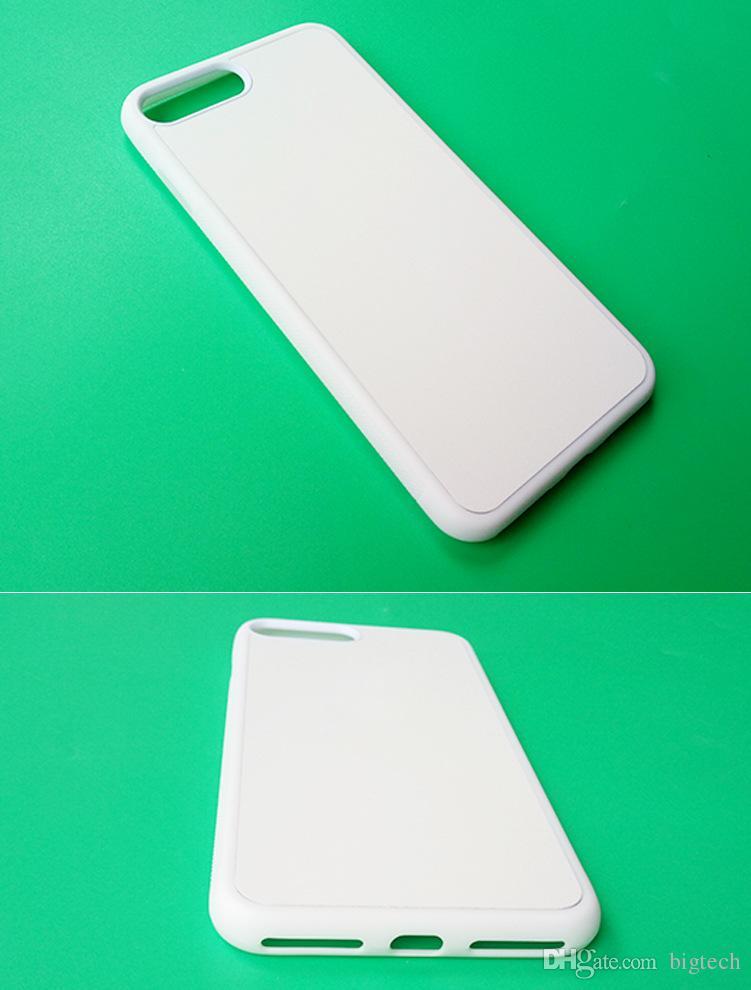 2D dura del PC sublimazione casse del telefono iPhone6 6plus 7 7plus con Blank inserto in metallo fai da te design alloggiamento della copertura posteriore