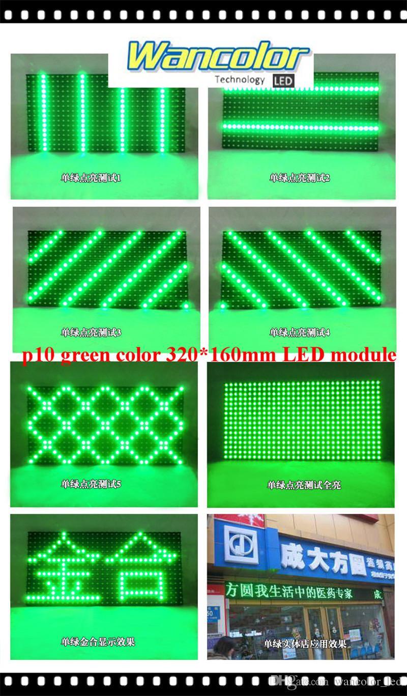 무료 배송 공장 가격 p10 야외 LED 스크롤 디스플레이 녹색 색상 p10 디스플레이 모듈 + 전원 공급 장치 + 와이파이 컨트롤러