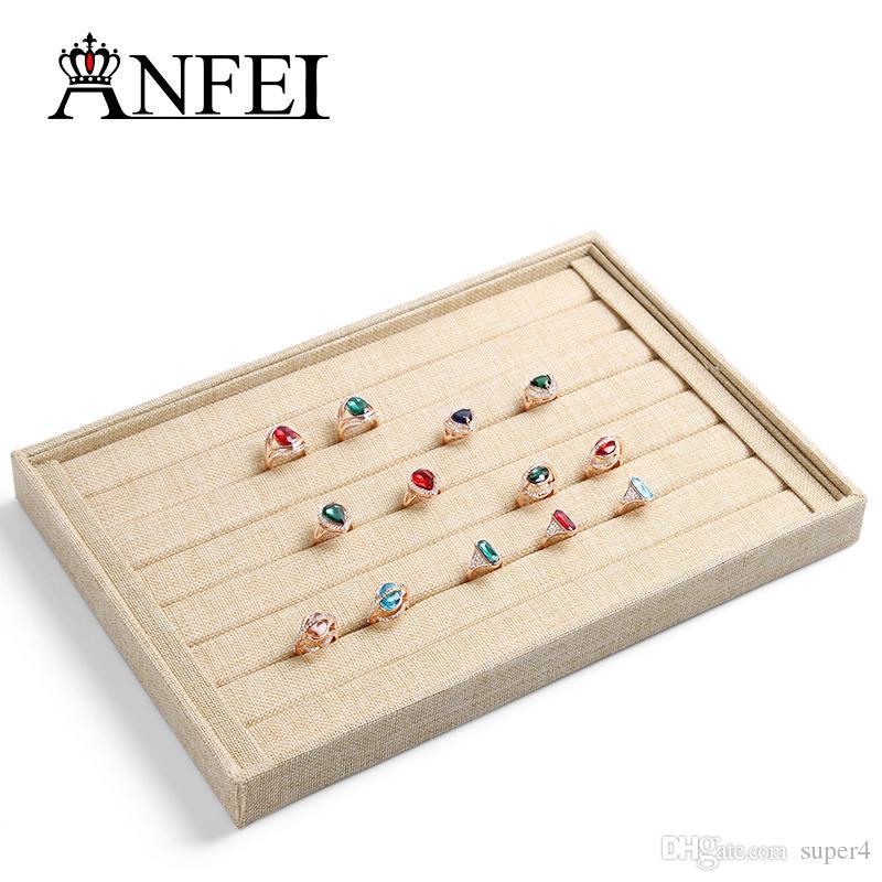 Wholesale 35CM High-grade Linen Rings Display Tray Organizer Show Case Jewelry Display Box Rings earrings Organizer Show Shelf