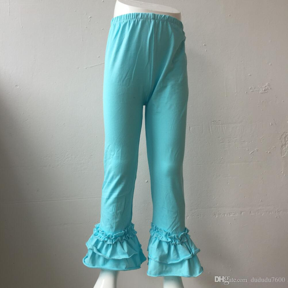 girls fashion fresh pure color ruffle pant high quality soft cotton clothing children party fashion long trousers