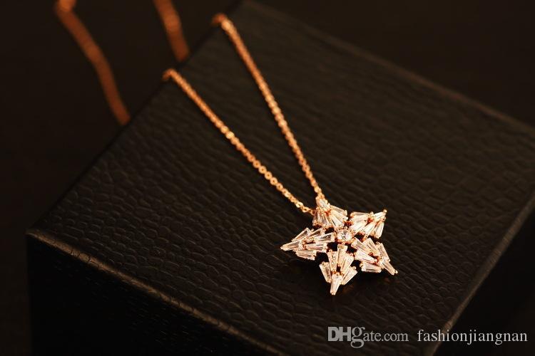 Hot Venda de cinco pontas de luxo estrela Mulheres Colar Pingente Colar Gargantilha Moda para o partido Collar Costume Zircon jóias banhado a ouro