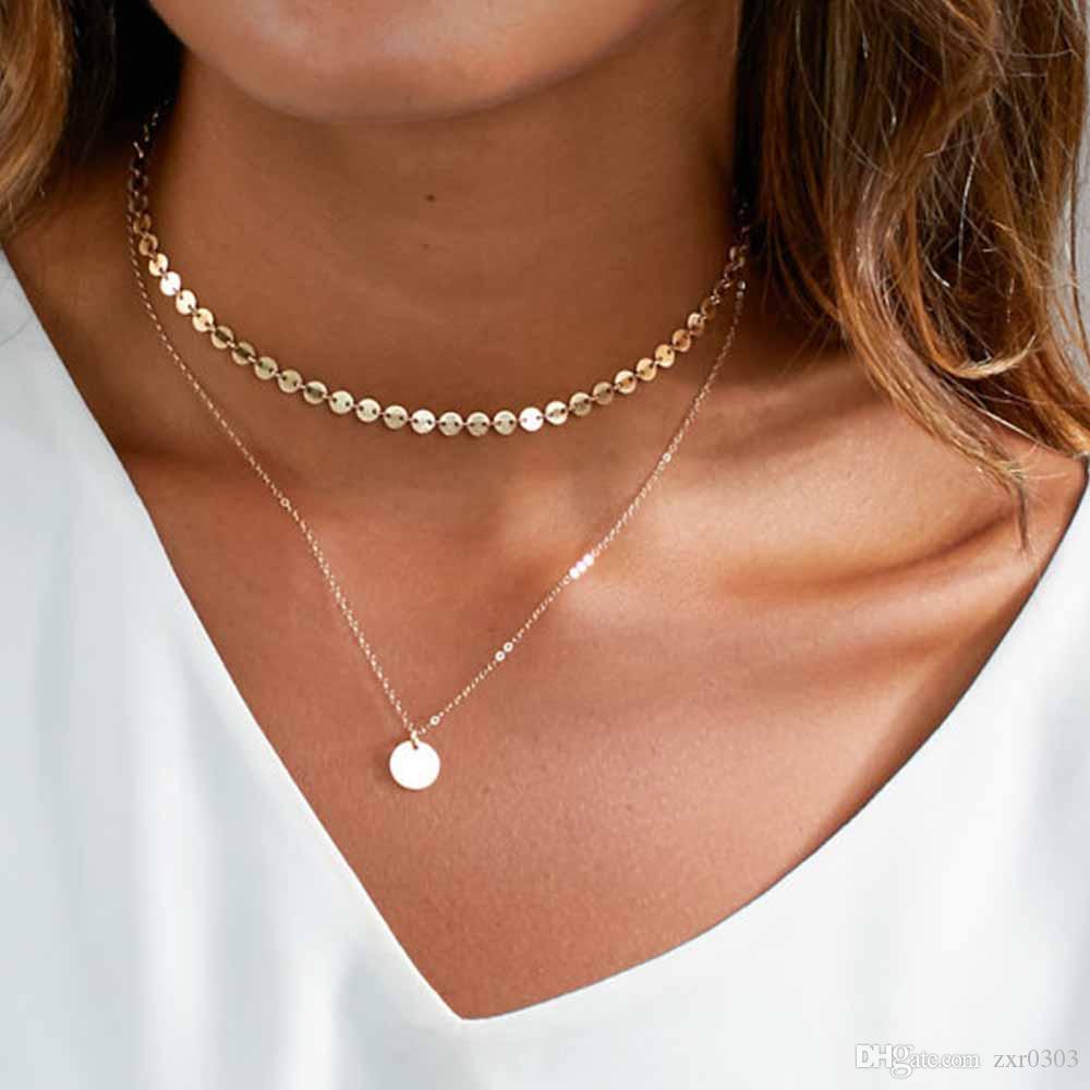 2017 новая мода кулон ожерелье золотая монета слоистых женщин ожерелье набор для женщин очарование колье ожерелье