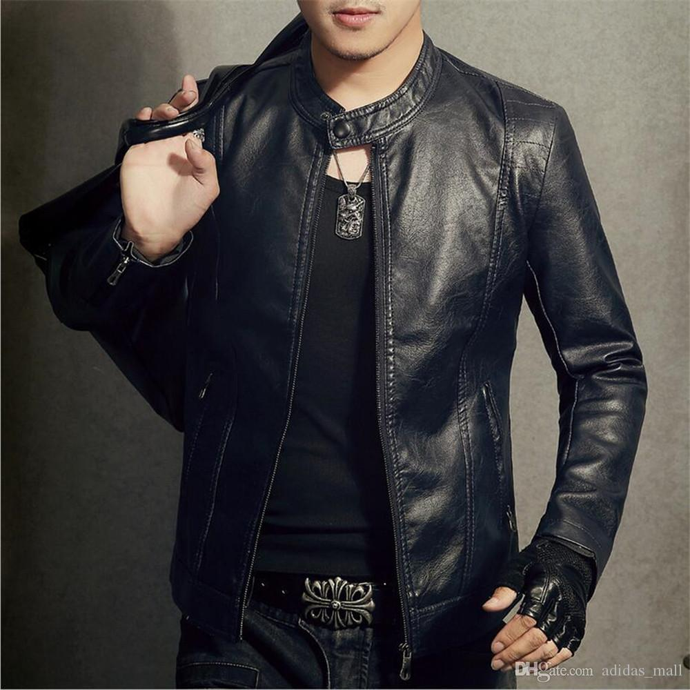 30725d2052fc 2017 New Fashion Motorcycle Biker Leather Jacket Men Casual Male ...