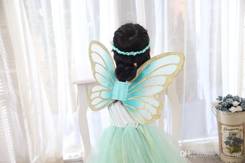 Crianças meninas conto de fadas glitter verde traje de fadas com asa de borboleta e hairband ballet vestido de dança vestido de conto de fadas frete grátis