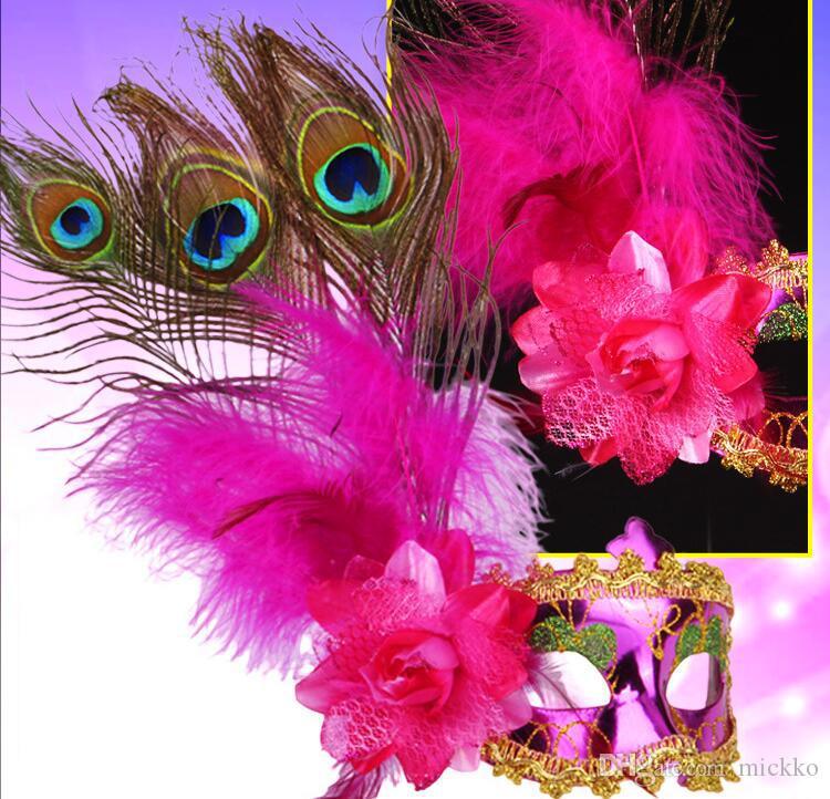 Frauen-Art- und Pfauenfedern Maskerade-Schablonen-Halloween-Party-Karneval Side Blumen Maske Bar Club Performance Show Prop-Maske