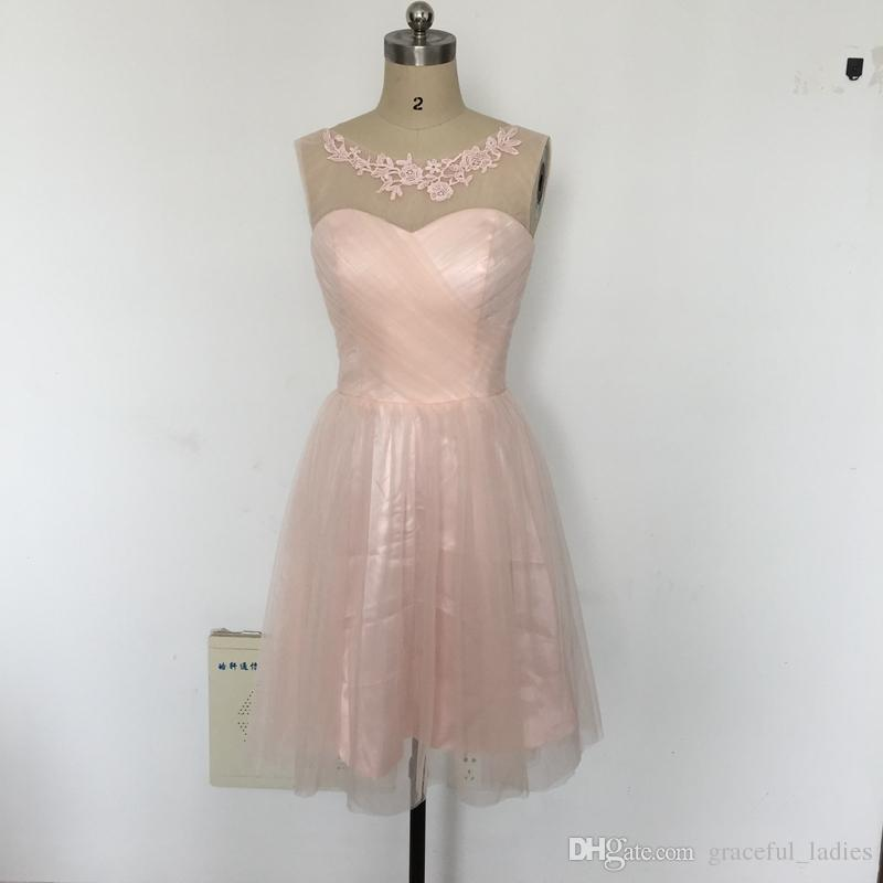 Blush Short Bridesmaid Dress Tulle Party Dress Knee Length Wedding ...
