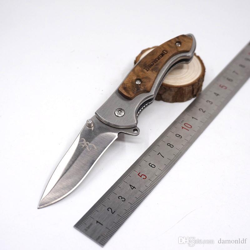 Brwoning Knife 337 Kleine Größe Holzgriff Schnellöffnende Taschenmesser Taktische Überlebensmesser Kampfmesser EDC Werkzeug Geschenkmesser