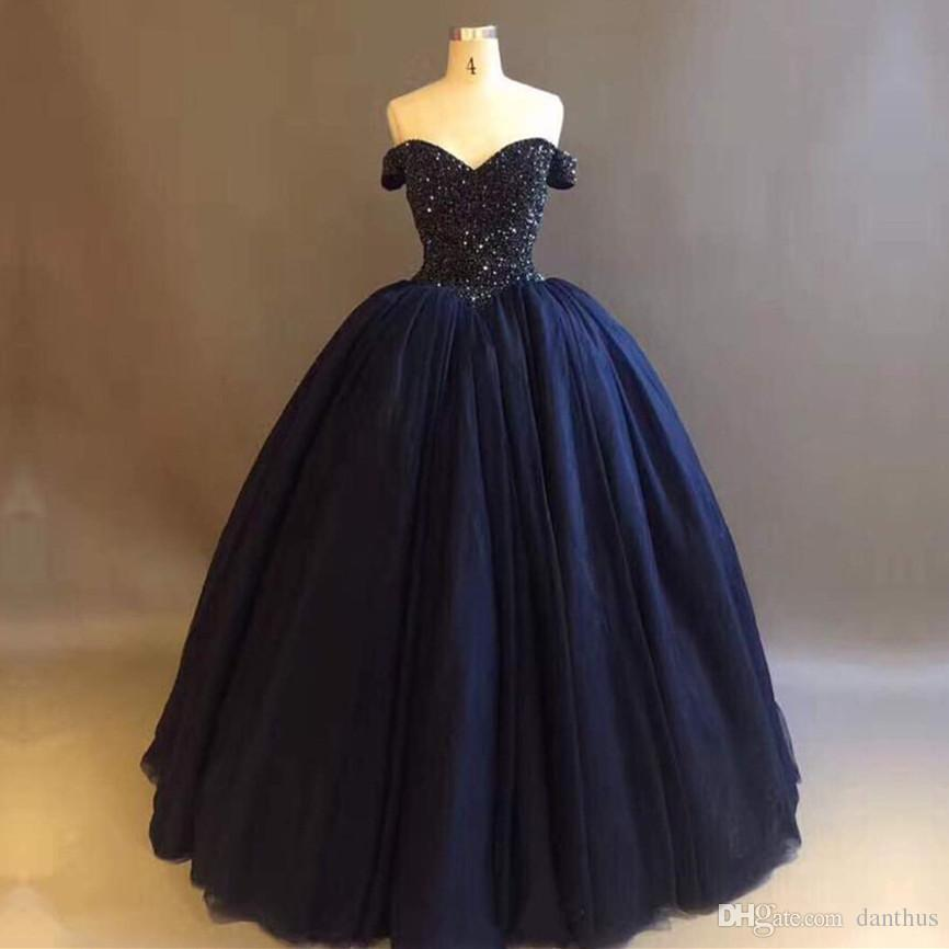 Bling Bling Crystal Beaded Bodice Corset Navy Blue Ball Gowns