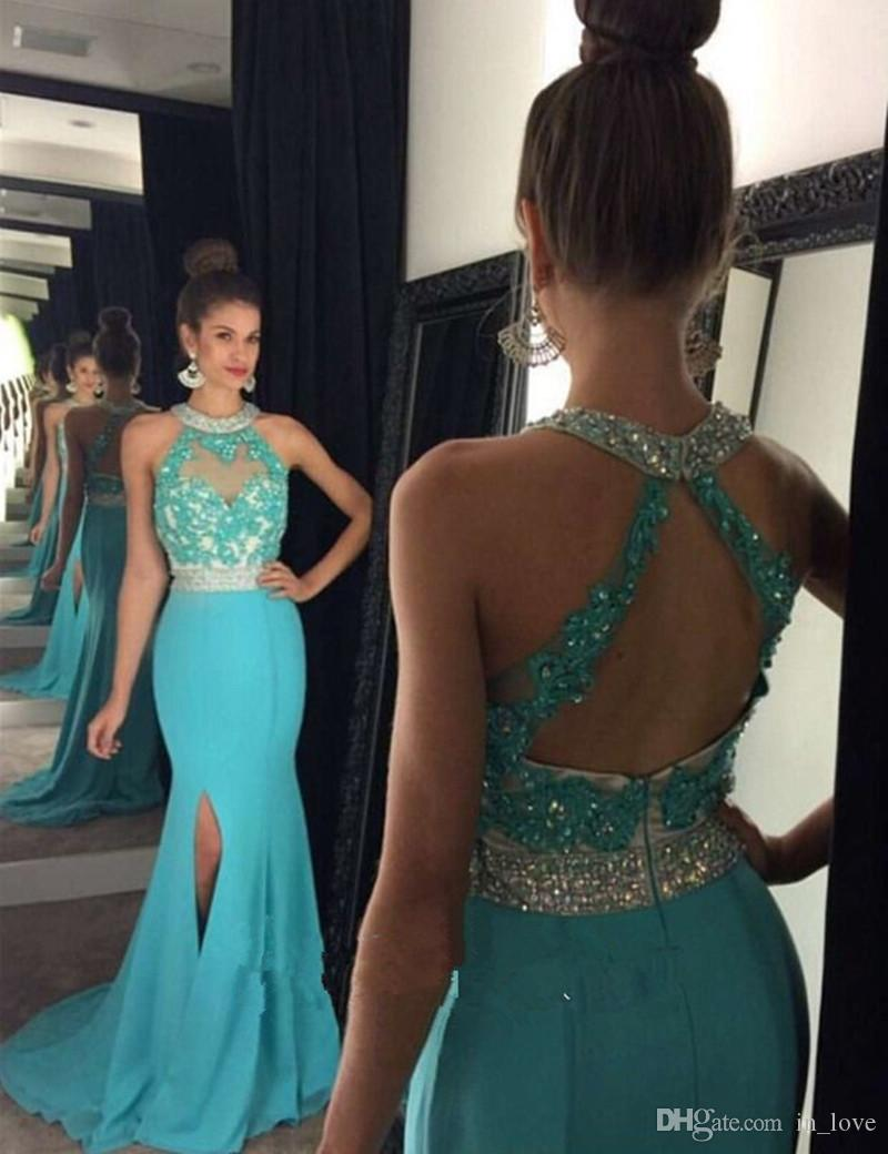 Sexy Style Long Teal Evening Dresses High Neck Backless Crystals Beaded Lace Side Slit Party Gowns robe de soiree Custom E049
