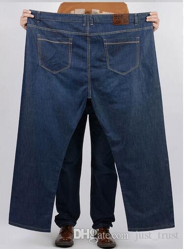 2016 Fashion Designer solid blue Daddy size demin jeans Plus size size 38~52 men jeans Straight zipper men long pants trousers