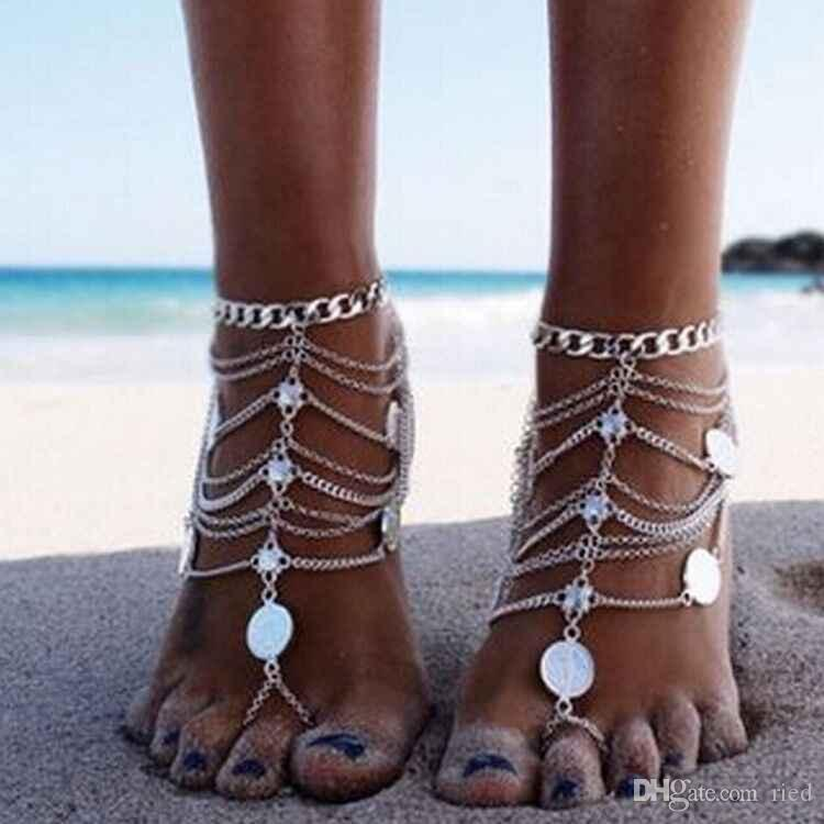 Boho Foot Chain Maxi Ankle Bracelet Tassel Link Chain Coin Anklet Halhal Toe Crochet Barefoot Sandals Braclet Jewelry