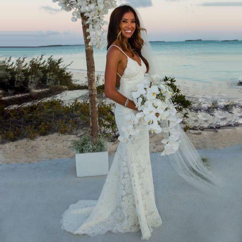 Beach Spaghetti Strap Wedding Gown: Spaghetti Strap Beach Wedding Dress Mermaid Sexy Backless