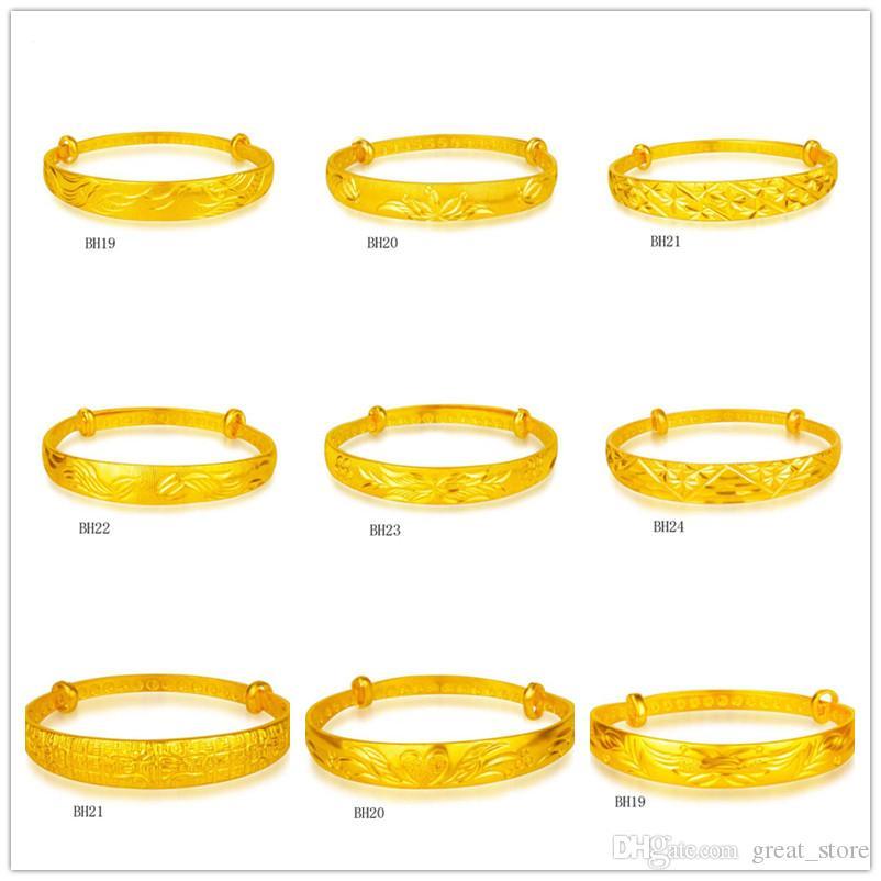 드래곤 및 피닉스 로터스 능 직물 노란색 골드 도금 팔찌 8 개 혼합 스타일 GTKBH3, 브랜드 새로운 고급 패션 여성 24K 골드 팔찌
