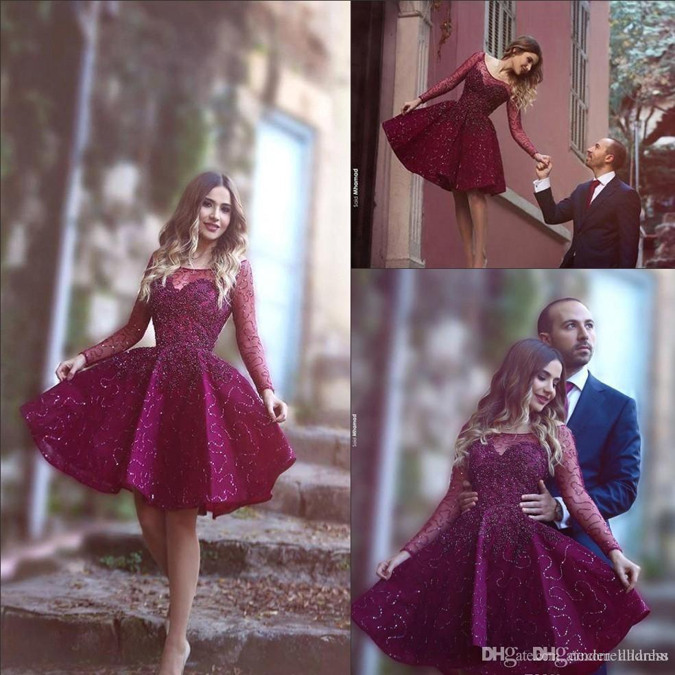 2017 Burgundy Plum Short Cocktail Dresses Sheer Long Sleeve with Beads Sequins Said Mhamad Neck Fashion Short Prom Party Gowns Custom