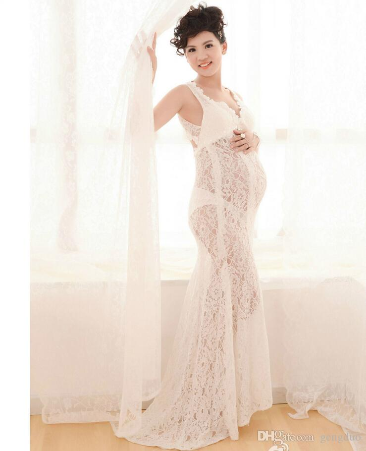 d6252a3790588 2019 Fancy Pregnancy Photo Shoot Studio Clothing Maternity Lace Flower Gown  Dress Pregnant Photography Props V Neck Perspective Dress From Gengduo, ...