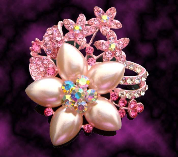 hot sale wedding plating silver fashion zinc alloy rhinestone flower Brooch bride jewelry mixed color BH703