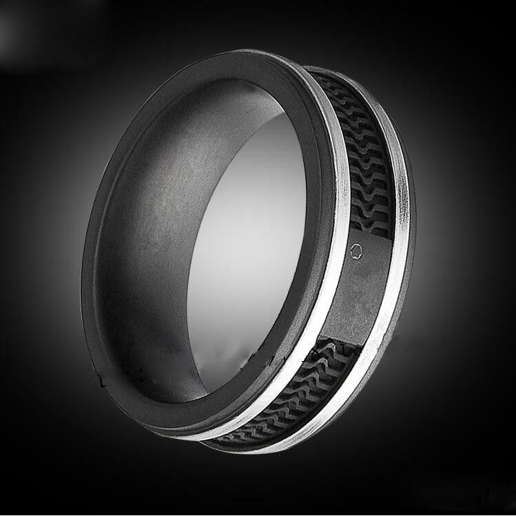 Anelli di colore nero di modo, monili di grandi dimensioni dell'acciaio inossidabile di titanio delle donne / Mens --- Formato 5 - 12
