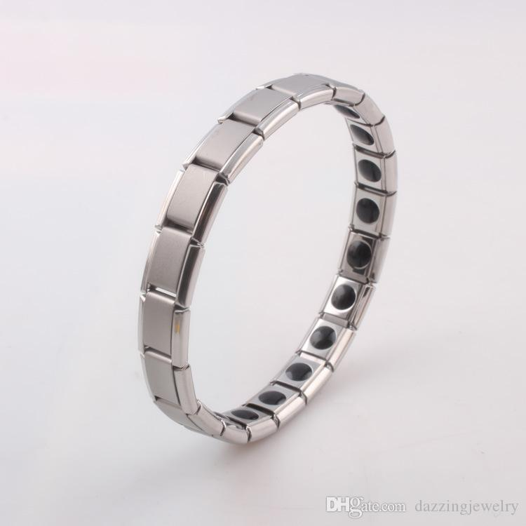 Couple Men Women Quantum Bio Energy stainless steel Stretch Bracelet with Germanium Magnetic Stone Health Jewelry For Lovers