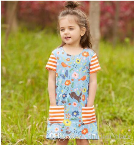 ec8781c42d01 2019 Wholesale Children Clothing Girls Summer Floral Princess Short Sleeved  Cute Dress Allover Printed Striped Dress From Children_place, $36.19 |  DHgate.