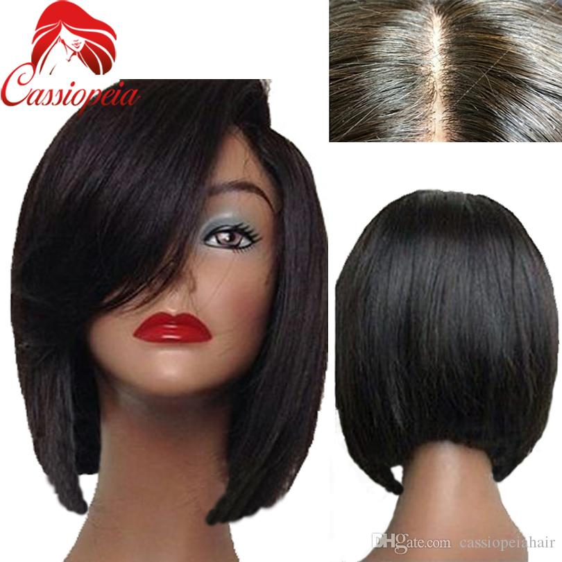 Glueless Silk Base Short Bob Silky Straight Full Lace Wigs With Natural Hairline For Black Women Left Part Front Lace Wig Indian Hair