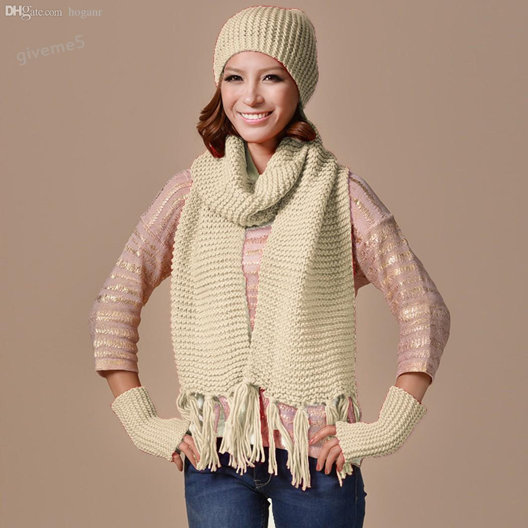 5eb350cb1cf 2019 Wholesale New Year Gifts Knit Hat Women Gloves Scarf Hat Set Kit Scarf  Set Hat Scarf Gloves Set 50 From Hoganr