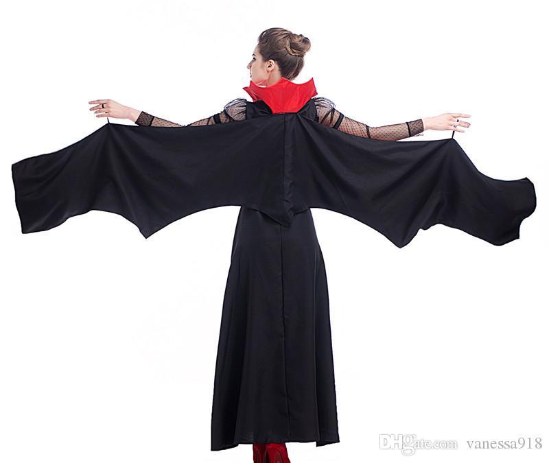 Готический сексуальный костюм Хэллоуин платье костюм Сексуальная ведьма вампир женщины Маскарад Хэллоуин косплей костюм королева летучая мышь PS019