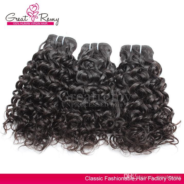 Extension de cheveux brésiliens de vague d'eau Greatremy® 8A Big Curly 100% non transformés Bundle de cheveux humains vierges / teint dans l'océan