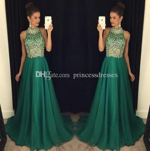 2017 Modest Dark Green Crystal Prom Dresses Halter Sleeveless Backless Chiffon Celebrity Party Dresses Evening Wear Sexy Red Carpet Dresses
