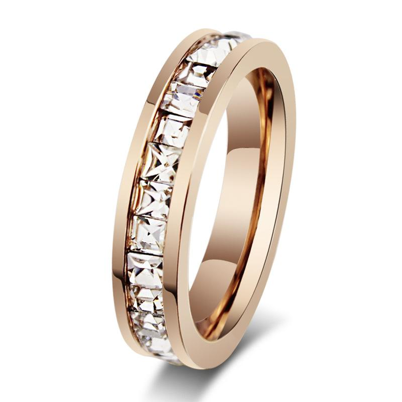 titanium steel rose gold plated Women's Ring Rose Gold Princess-cut Diamond Bridal Wedding Band Wedding Ring