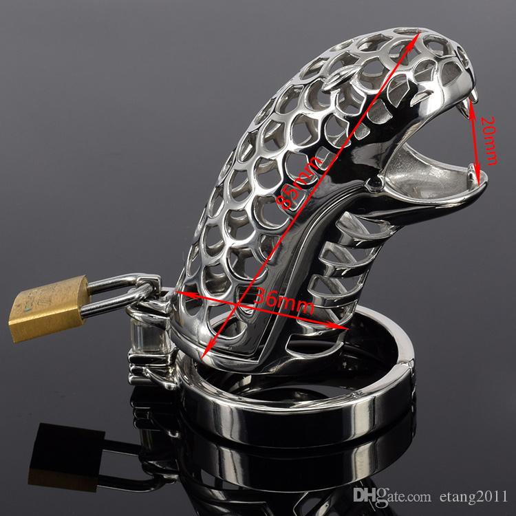 2016 New Bdsm Sex Toys Latest design super small snake cage Stainless steel Male chastity bondage devices catheter Prevent masturbation