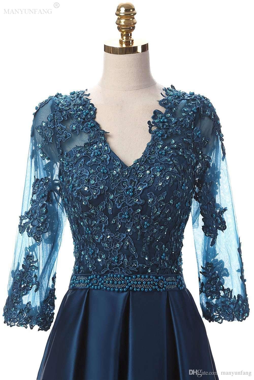 Gelin Elbise Of Sıcak Satış Yüksek Şeffaf Uzun Kollu Mavi Parti Elbise Elastik Saten Dantel Aplikler V Yaka İncilerinizide Sashes Fermuar Anne