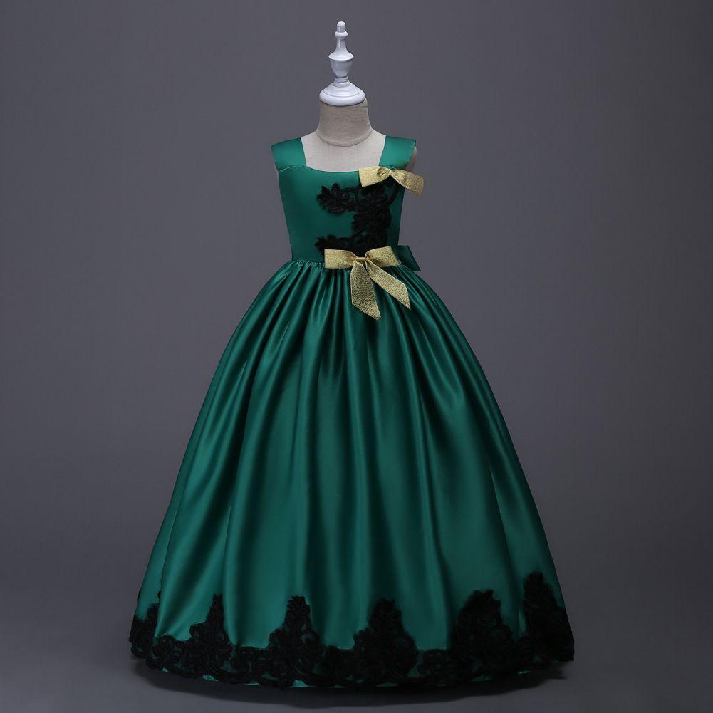 재고 부활절 레드 옐로우 블루 그린 소녀 미인 대회 드레스 스파게티 저렴한 Applique 꽃 파는 소녀 드레스 빠른 배송 미스 청소년을위한 드레스